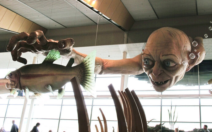 FILE - In this Nov. 24, 2012, file photo, a giant sculpture of Gollum, a character from