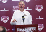 Mississippi State football coach Joe Moorhead answers a reporter's question during the school's football media day, Saturday, Aug. 10, 2019 in Starkville, Miss. Moorhead is entering his second NCAA college football season with Mississippi State as head coach. (AP Photo/Rogelio V. Solis)