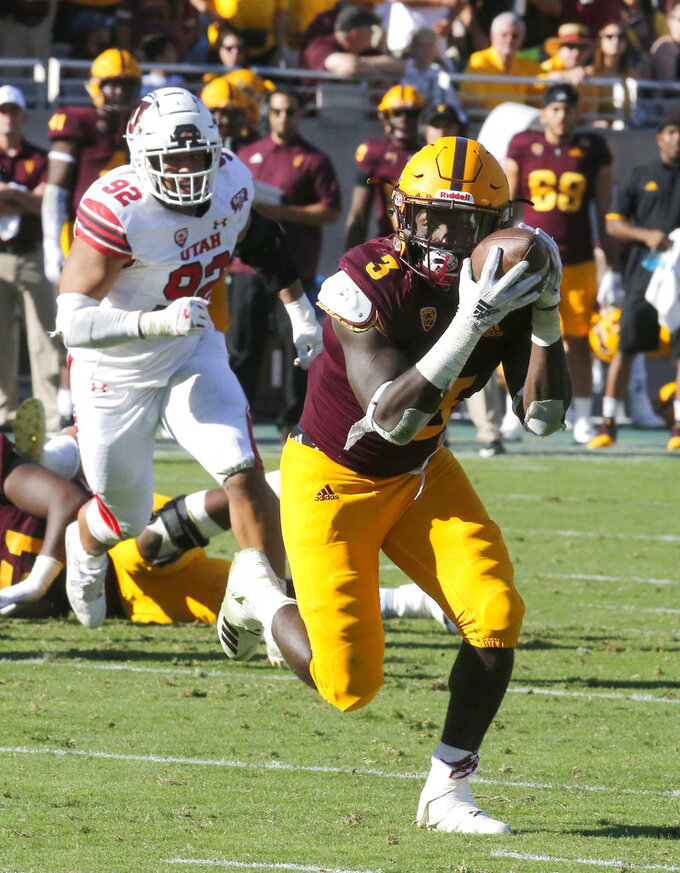 Arizona State running back Eno Benjamin (3) makes a catch in the second half during an NCAA college football game against Utah, Saturday, Nov. 3, 2018, in Tempe, Ariz. (AP Photo/Rick Scuteri)