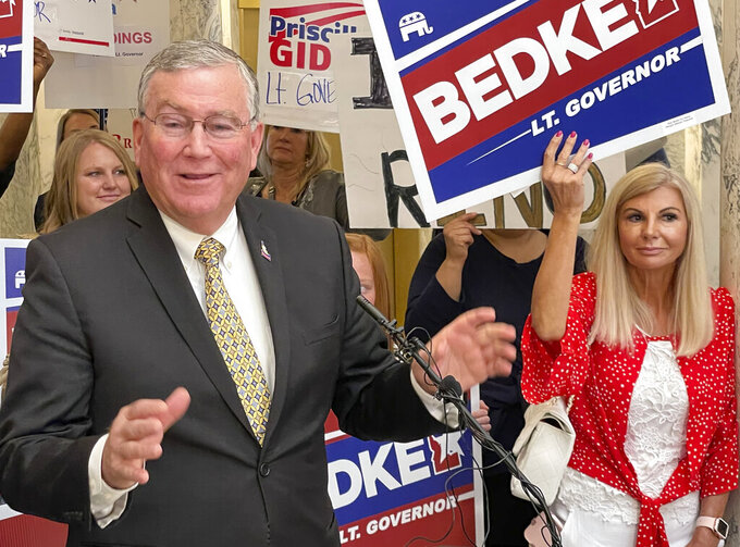 Republican House Speaker Scott Bedke announces that he's running for Idaho's lieutenant governor, Thursday, May 27, 2021, at the Statehouse in Boise, Idaho. Bedke, a fourth-generation rancher from Oakley, has been a House member since 2001, representing the south-central Idaho area. (AP Photo/Keith Ridler)