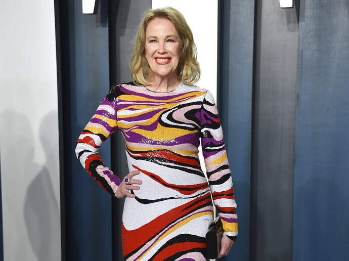 "FILE - This Feb. 9, 2020 file photo shows actress Catherine O'Hara, star of ""Schitt's Creek,"" at the Vanity Fair Oscar Party in Beverly Hills, Calif. After six seasons, ""Schitt's Creek"" is coming to a close. Its last episode airs Tuesday on Pop TV.  (Photo by Evan Agostini/Invision/AP, File)"