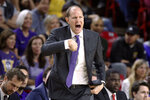 Washington coach Mike Hopkins shouts out instructions to the team during the first half of an NCAA college basketball game against Arizona State on Thursday, March 5, 2020, in Tempe, Ariz. (AP Photo/Darryl Webb)