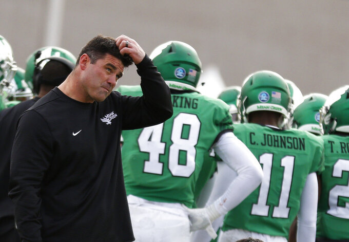 North Texas coach Seth Littrell reacts during a time out in the first half of the New Mexico Bowl NCAA college football game against Utah State in Albuquerque, N.M., Saturday, Dec. 15, 2018. Utah State won 52-13. (AP Photo/Andres Leighton)