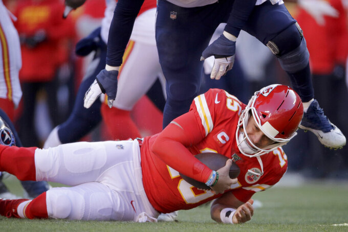 Kansas City Chiefs' Patrick Mahomes is stopped during the first half of the NFL AFC Championship football game against the Tennessee Titans Sunday, Jan. 19, 2020, in Kansas City, MO. (AP Photo/Charlie Riedel)