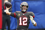 Tampa Bay Buccaneers quarterback Tom Brady (12) throws a pass against the Atlanta Falcons during the first half of an NFL football game Sunday, Jan. 3, 2021, in Tampa, Fla. (AP Photo/Mark LoMoglio)