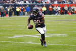 Chicago Bears running back Tarik Cohen runs the ball for 9-yard touchdown reception during the second half of an NFL football game against the Detroit Lions in Chicago, Sunday, Nov. 10, 2019. (AP Photo/Charles Rex Arbogast)
