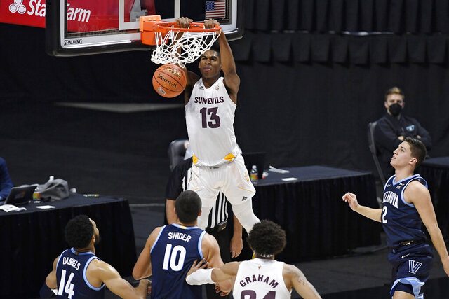 Arizona State's Josh Christopher (13) dunks during the first half of the team's NCAA college basketball game against Villanova, Thursday, Nov. 26, 2020, in Uncasville, Conn. (AP Photo/Jessica Hill)