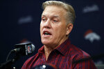 FILE - In this Friday, March 15, 2019, file photo, Denver Broncos general manager John Elway talks to reporters at a news conference at the team's headquarters in Englewood, Colo. Elway's trade for Joe Flacco in the offseason sets him up to capitalize once again on a draft deep with defensive playmakers. (AP Photo/David Zalubowski, File)
