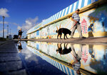 Beachgoers walk past a mural along the boardwalk as Hurricane Florence approaches the east coast in Atlantic Beach, N.C., Wednesday, Sept. 12, 2018. (AP Photo/David Goldman)