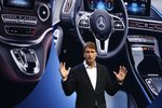 Ola Kallenius, Chairman of the Board of Management Daimler AG and Mercedes-Benz AG, talks about future innovation of the car maker at the world premiere of the Mercedes-Benz Vision AVTR concept car announcement during the Daimler Keynote before the CES tech show Monday, Jan. 6, 2020, in Las Vegas. (AP Photo/Ross D. Franklin)