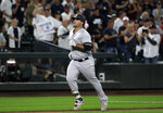 New York Yankees' Mike Ford heads home on his solo home run against the Seattle Mariners in the fourth inning of a baseball game, Monday, Aug. 26, 2019, in Seattle. (AP Photo/Elaine Thompson)