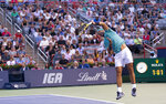 Rafael Nadal, of Spain, serves to Fabio Fognini, of Italy, during the Rogers Cup men's tennis tournament Friday, Aug. 9, 2019, in Montreal. (Paul Chiasson/The Canadian Press via AP)