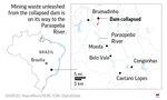 Map of the mudslide in Southeast Brazil.;
