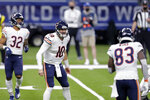 Chicago Bears quarterback Mitchell Trubisky (10) calls out a play in the first half of an NFL wild-card playoff football game against the New Orleans Saints in New Orleans, Sunday, Jan. 10, 2021. (AP Photo/Brett Duke)