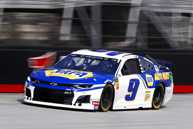 Driver Chase Elliott (9) makes his way down the back stretch during practice for a NASCAR Cup Series auto race, Saturday, April 6, 2019, in Bristol, Tenn. (AP Photo/Wade Payne)