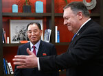 Secretary of State Mike Pompeo, right, and Kim Yong Chol, a North Korean senior ruling party official and former intelligence chief, walk from a photo opportunity at the The Dupont Circle Hotel in Washington, Friday, Jan. 18, 2019. (AP Photo/Carolyn Kaster)