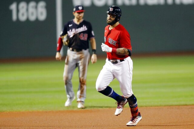 Boston Red Sox's Kevin Pillar rounds the bases on his solo home run during the fourth inning of a baseball game against the Washington Nationals, Saturday, Aug. 29, 2020, in Boston. (AP Photo/Michael Dwyer)