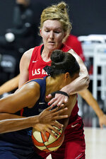 Las Vegas Aces center Carolyn Swords hits Connecticut Sun center Brionna Jones (42) in the face as she attempts to go to the basket during the second half of Game 4 of a WNBA basketball semifinal round playoff series Sunday, Sept. 27, 2020, in Bradenton, Fla. (AP Photo/Chris O'Meara)