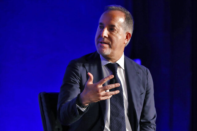 Inter Miami CF Managing Owner Jorge Mas is interviewed during the Major League Soccer 25th Season kickoff event in New York, Wednesday, Feb. 26, 2020. (AP Photo/Richard Drew)