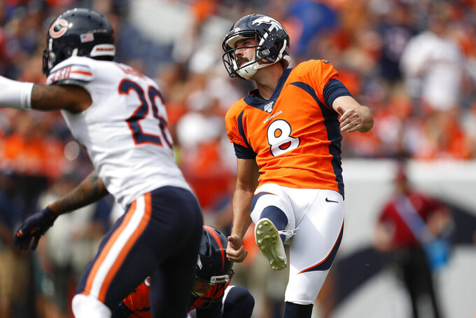 Denver Broncos kicker Brandon McManus (8) watches his field goal split the uprights against the Chicago Bears during the first half of an NFL football game, Sunday, Sept. 15, 2019, in Denver. (AP Photo/David Zalubowski)