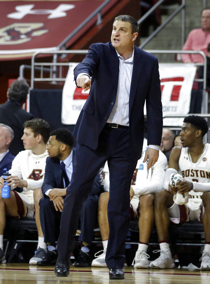 Boston College's head coach Jim Christian shouts from the bench in the second half of an NCAA college basketball game against Florida State, Sunday, Jan. 20, 2019, in Boston. (AP Photo/Steven Senne)