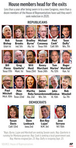 More than a dozen members of the U.S. House of Representatives are not seeking reelection to the body in 2020. ;