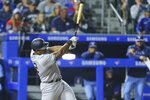 New York Yankees' Chris Gittens brings in two runs on a single during the seventh inning of a baseball game against the Toronto Blue Jays, Thursday, June 17, 2021, in Buffalo, N.Y. (AP Photo/Jeffrey T. Barnes)