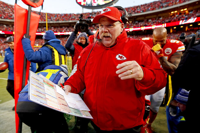Kansas City Chiefs head coach Andy Reid celebrates after the NFL AFC Championship football game against the Tennessee Titans Sunday, Jan. 19, 2020, in Kansas City, MO. The Chiefs won 35-24 to advance to Super Bowl 54. (AP Photo/Charlie Neibergall)