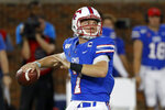 SMU quarterback Shane Buechele attempts a pass during the first half of an NCAA college football game against Tulsa, Saturday, Oct. 5, 2019, in Dallas, Texas. (AP Photo/Roger Steinman)