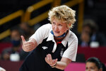 Serbia head coach Marina Maljkovic directs her team during a women's basketball preliminary round game against Canada at the 2020 Summer Olympics, Monday, July 26, 2021, in Saitama, Japan. (AP Photo/Charlie Neibergall)