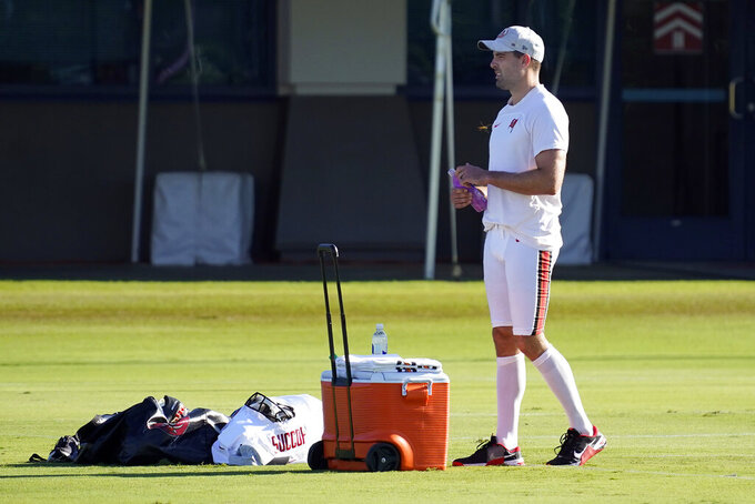 Tampa Bay Buccaneers kicker Ryan Succop watches during an NFL football training camp practice Wednesday, Aug. 11, 2021, in Tampa, Fla. (AP Photo/Chris O'Meara)