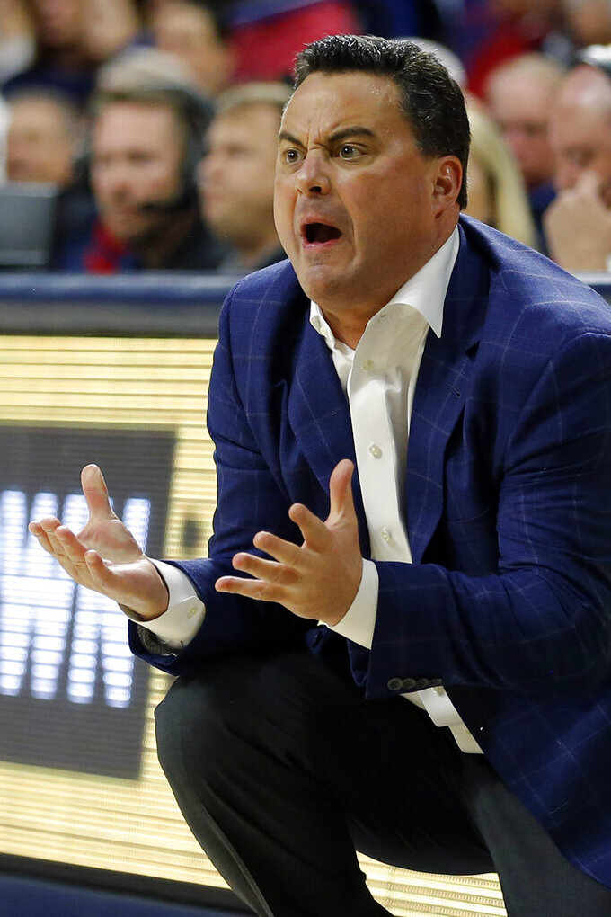 Arizona head coach Sean Miller reacts to a foul call in the first half during an NCAA college basketball game against Stanford, Sunday, Feb. 24, 2019, in Tucson, Ariz. (AP Photo/Rick Scuteri)