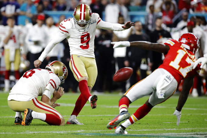 San Francisco 49ers' Robbie Gould (9) kicks a field goal from the hold of Mitch Wishnowsky against the Kansas City Chiefs during the second half of the NFL Super Bowl 54 football game Sunday, Feb. 2, 2020, in Miami Gardens, Fla. (AP Photo/Patrick Semansky)