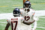 Chicago Bears wide receiver Anthony Miller (17) celebrates his touchdown with Chicago Bears wide receiver Allen Robinson (12) against the Atlanta Falcons during the second half of an NFL football game, Sunday, Sept. 27, 2020, in Atlanta. (AP Photo/Brynn Anderson)