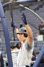 New York Yankees' Aaron Judge reacts as he waits to hit during batting practice before a baseball game against the Toronto Blue Jays, Friday, Sept. 14, 2018, at Yankee Stadium in New York. (AP Photo/Bill Kostroun)