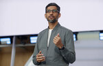 Google CEO Sundar Pichai speaks during the keynote address of the Google I/O conference in Mountain View, Calif., Tuesday, May 7, 2019. (AP Photo/Jeff Chiu)