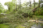 Downed trees and power lines block Main Street South in Bridgewater, Conn.,  after severe storms rolled through the area Tuesday, May 15, 2018.Residents in the Northeast cleaned up Wednesday, a day after powerful storms pounded the region with torrential rain and marble-sized hail, leaving more 200,000 homes and businesses without power.  (John Woike/Hartford Courant via AP)