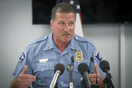 FILE - In this July 30, 2018 file photo, Minneapolis Police Union President Lt. Bob Kroll speaks during a news conference in Minneapolis. Talk of changing the Minneapolis Police Department is everywhere in the wake of George Floyd's death in an encounter with four officers. But real change may depend on confronting a powerful union that has resisted similar attempts for years. Local politicians and police leaders have long blamed an entrenched culture in the department and the union. (Elizabeth Flores/Star Tribune via AP)