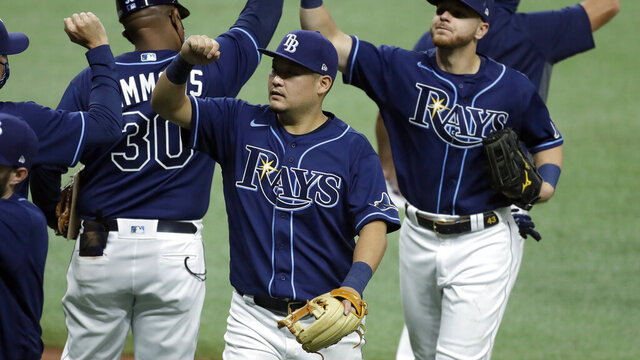 Tampa Bay Rays left fielder Yoshitomo Tsutsugo, of Japan, center, celebrates with his teammates after the team defeated the Atlanta Braves during a baseball game Tuesday, July 28, 2020, in St. Petersburg, Fla. (AP Photo/Chris O'Meara)