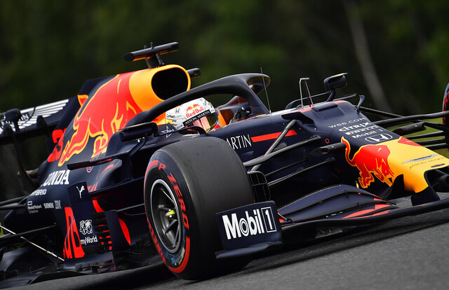 Red Bull driver Max Verstappen of the Netherlands steers his car during the second practice session prior to the Formula One Grand Prix at the Spa-Francorchamps racetrack in Spa, Belgium Friday, Aug. 28, 2020. (John Thys, Pool via AP)