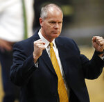 Colorado head coach Tad Boyle reacts after his team scored against Oregon in the second half of an NCAA basketball game Saturday, Feb. 2, 2019, in Boulder, Colo. (AP Photo/David Zalubowski)