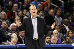 Northwestern head coach Chris Collins reacts to his team during the first half of an NCAA college basketball game against DePaul, Saturday, Dec. 21, 2019, in Chicago. (AP Photo/David Banks)