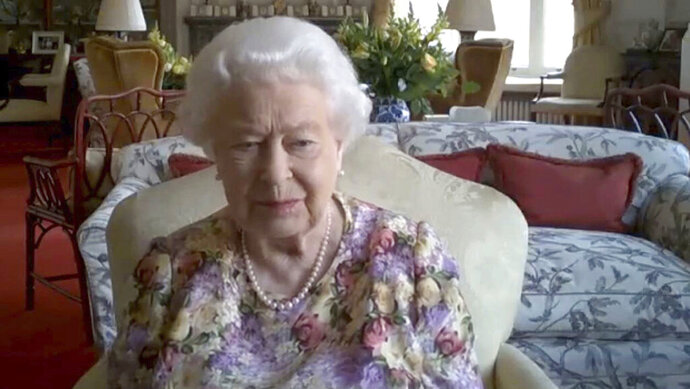 In this video grab issued Thursday June 11, 2020, by Buckingham Palace, showing Britain's Queen Elizabeth II, as she takes part in a video conference call with the Princess Royal Princess Anne, and carers supported by the Carers Trust, on June 4, 2020.  The monarch talked with four carers and the trust's chief executive Gareth Howells, on June 4 from Windsor Castle, during the coronavirus pandemic lockdown. As part of Carers Week in the U.K., the 94-year-old monarch showed once again that she's adept at meeting the challenges posed by new technologies, taking part in her first public video conference call to chat to four carers about the challenges they face looking after someone close to them during the coronavirus pandemic.  (Carer's Trust/Buckingham Palace via AP)
