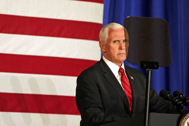 Vice President Mike Pence gives a speech on Friday, July 17, 2020, at Ripon College in Ripon, Wis. (Alex Martin/The Post-Crescent via AP)