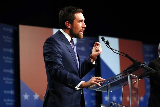 Democrat Kevin Paffrath makes a point while speaking during a debate between candidates for the upcoming California recall election, held by KCRA 3 and the San Francisco Chronicle in Sacramento, Calif., on Wednesday, Aug. 25, 2021. (Scott Strazzante/San Francisco Chronicle via AP, Pool)