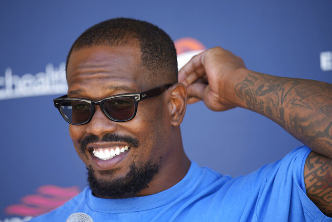 Denver Broncos outside linebacker Von Miller responds to a question during a news conference Thursday, Sept. 16, 2021, at the NFL football team's headquarters in Englewood, Colo. (AP Photo/David Zalubowski)