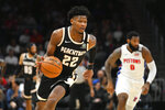 Atlanta Hawks forward Cam Reddish (22) brings a stolen ball upcourt during the first half of an NBA basketball game against the Detroit Pistons, Saturday, Jan. 18, 2020, in Atlanta. (AP Photo/John Amis)