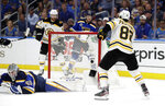 Boston Bruins right wing David Pastrnak (88), of the Czech Republic, scores a goal against St. Louis Blues goaltender Jordan Binnington (50) during the third period of Game 6 of the NHL hockey Stanley Cup Final Sunday, June 9, 2019, in St. Louis. The Bruins won 5-1 to even the series 3-3. (AP Photo/Jeff Roberson)