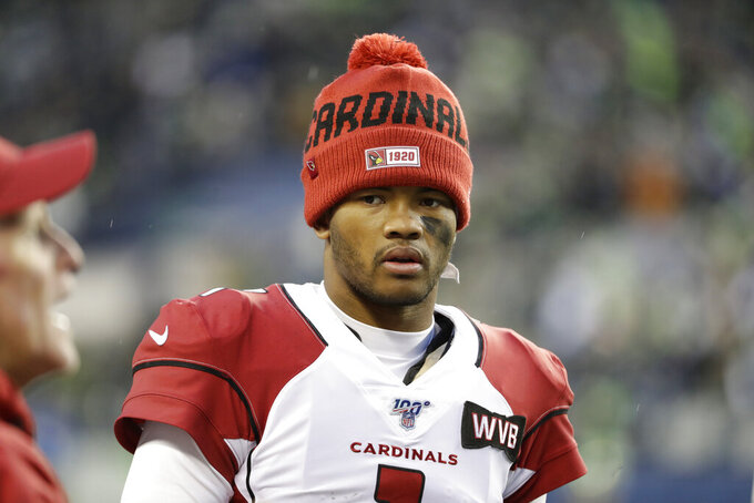Arizona Cardinals starting quarterback Kyler Murray stands on the sideline after leaving the game with an injury during the second half of an NFL football game against the Seattle Seahawks, Sunday, Dec. 22, 2019, in Seattle. (AP Photo/Lindsey Wasson)