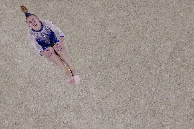 Viktoriia Listunova, of the Russian Olympic Committee, performs on the floor during the artistic gymnastics women's final at the 2020 Summer Olympics, Tuesday, July 27, 2021, in Tokyo. (AP Photo/Morry Gash)
